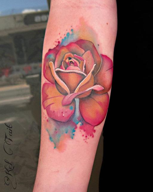 rose tattoo watercolor