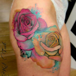 Watercolor Roses Tattoo on Hip