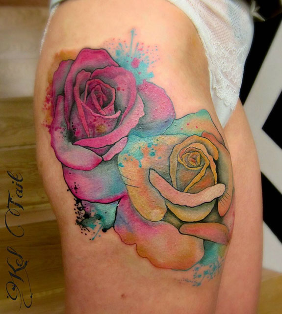hip roses tattoo watercolor