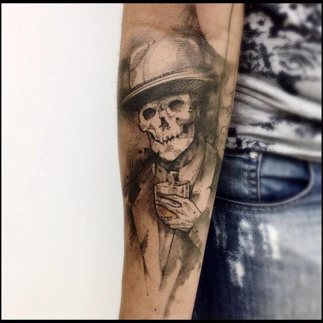 Skeleton Tattoo with whiskey