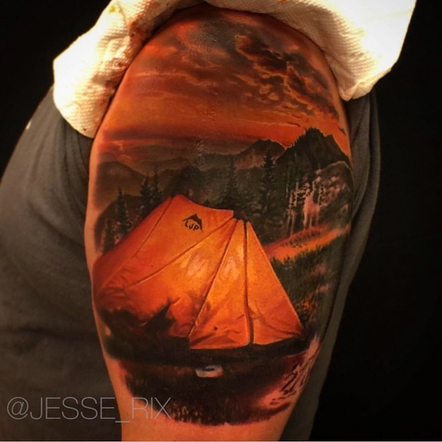 realistic tattoo design tent