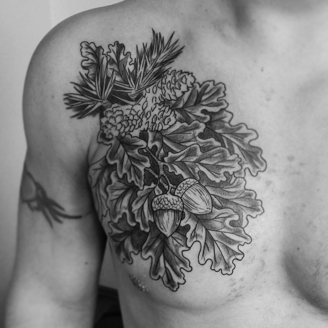 oak tattoo on chest by ruutattoo
