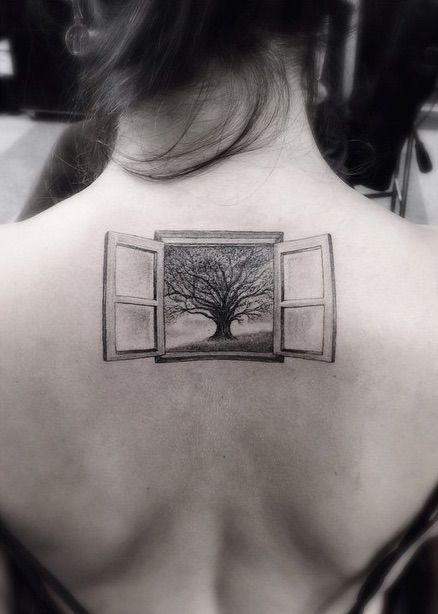 window and oak tree tattoo by Brian Woo