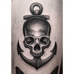 Anchor Skull Tattoo