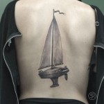 boat tattoo on back
