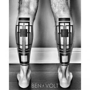 Blackwork Geometrical Leg Tattoos