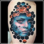 face tattoo blue