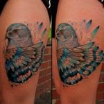 thigh blue hawk tattoo watercolor