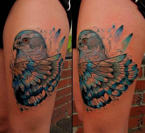 thigh blue hawk tattoo watercolor