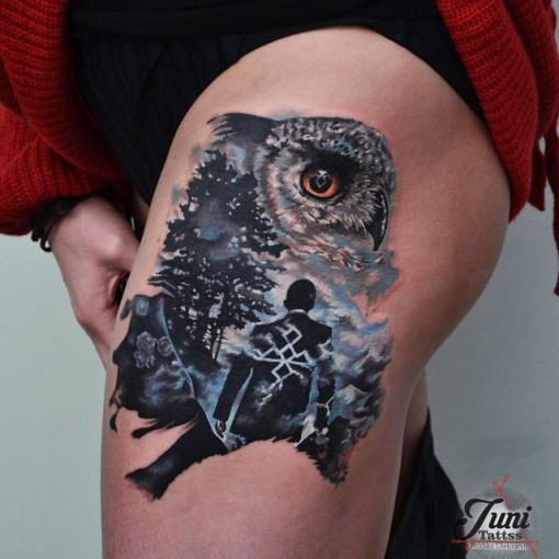 tattoo wol on thigh