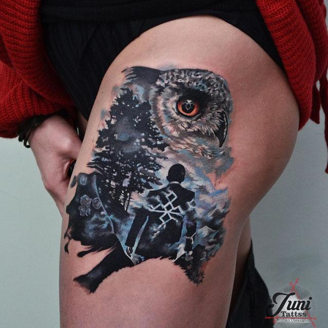 tattoo wol on thigh