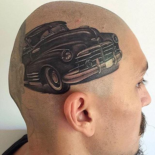 chicano car head tattoo