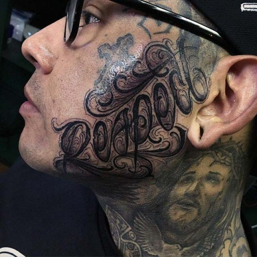face lettering chicano tattoo