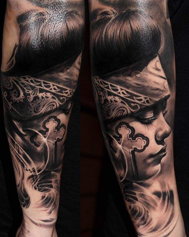 Realistic Chicano tattoo design