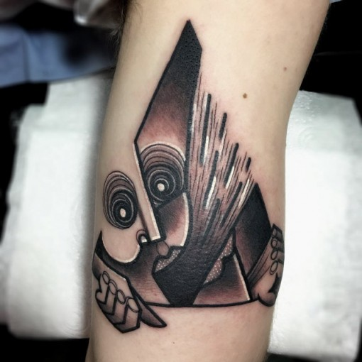 grey triangle tattoo cubism