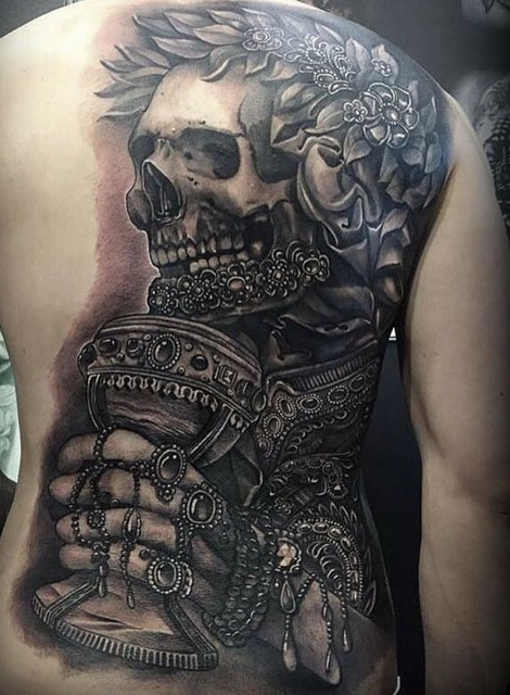 half-back skeleton tattoo