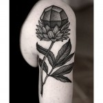 Gem Flower Tattoo Dotwork