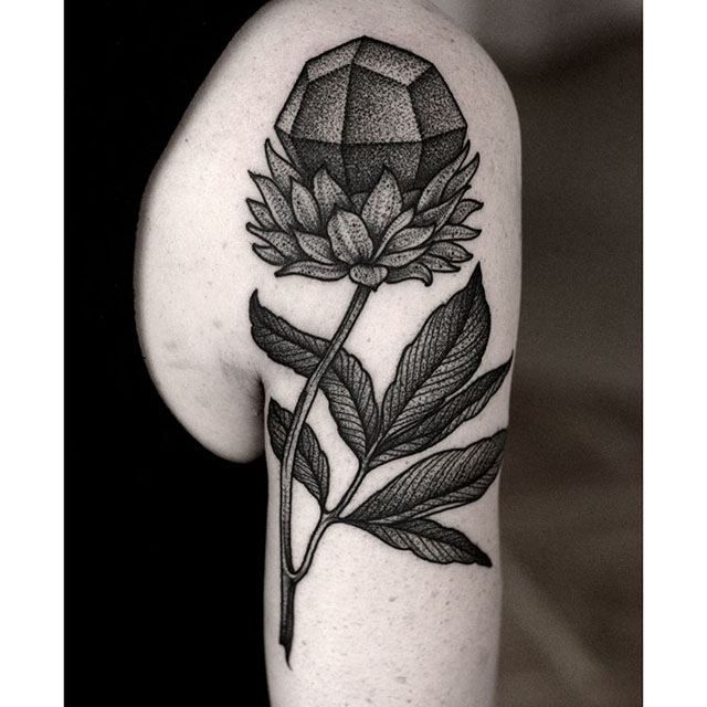 dotwork flower tattoo gem