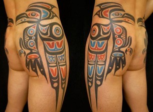 Haida Tribal Parrot Tattoo