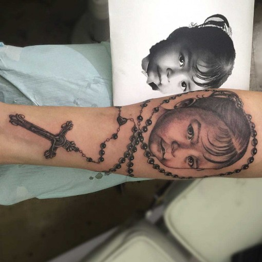 rosary kid portrait tattoo
