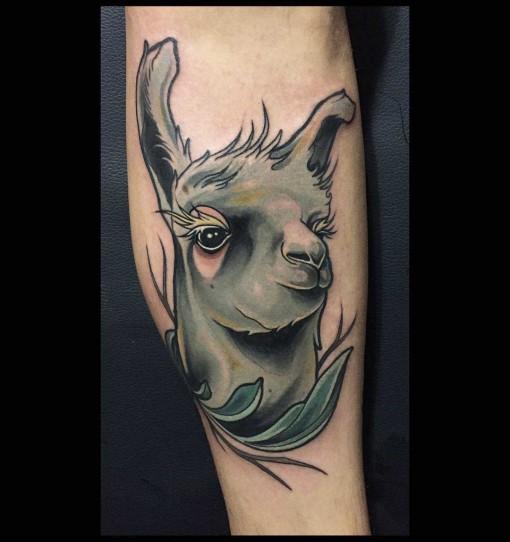 tattoo lama with cute eyes
