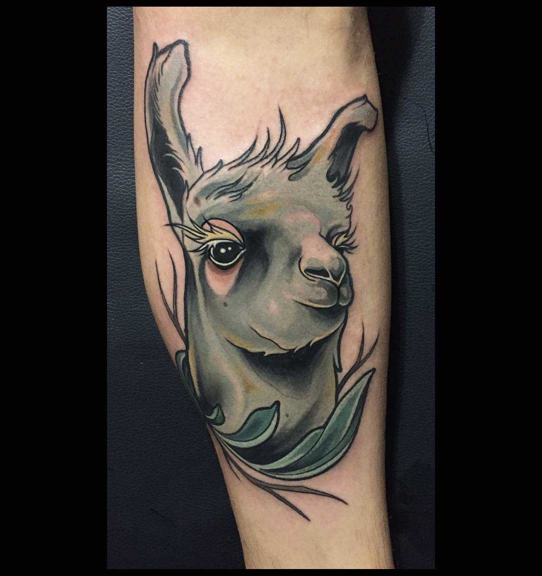 tattoo lama with cute eyes