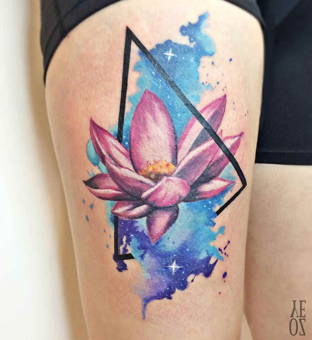 thigh tattoo lotus flower