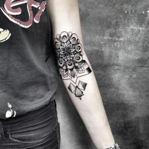 Mandala Inner Elbow Tattoo