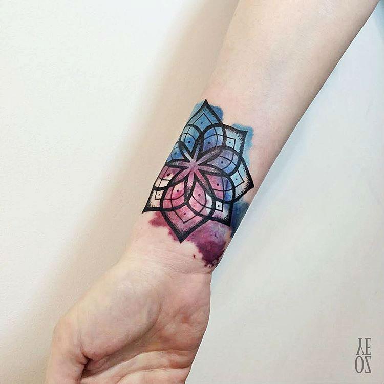 watercolor wrist tattoo mandala