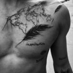 Map Feather Inspiration Tattoo