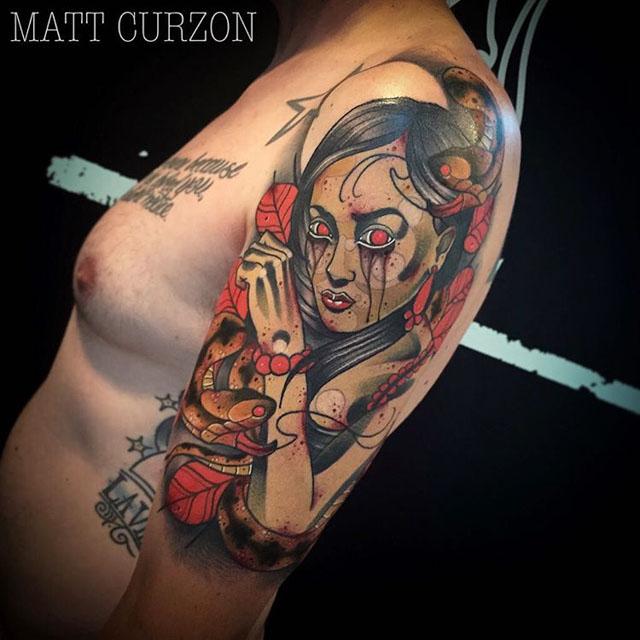 interesting shoulder medusa tattoo