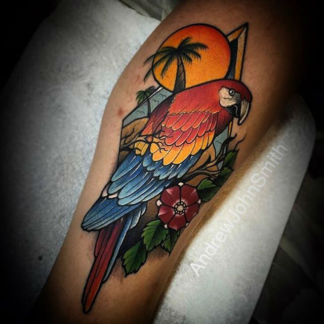 tropical parrot tattoo