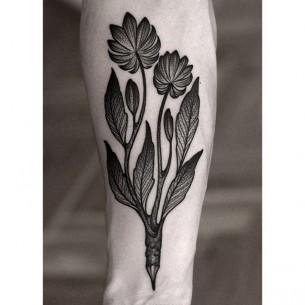 Pencil Flowers Tattoo Dotwork