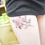 Peony Tattoo on Thigh