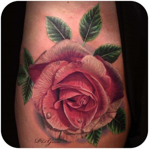 Pink Rose Tattoo Realistic