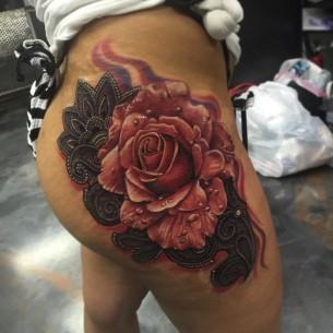 Pink Rose Tattoo on Hip