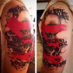 Shoulder Skulls Trash Polka Tattoo