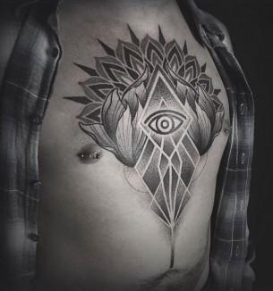 Stomach Geometrical Tattoo Dotwork