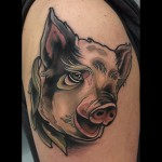 head of pig tattoo
