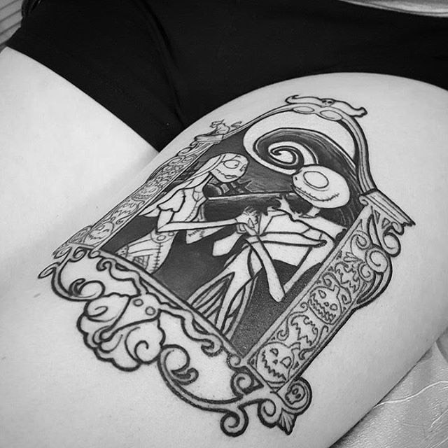 thigh Nightmare Before Christmas tattoo love