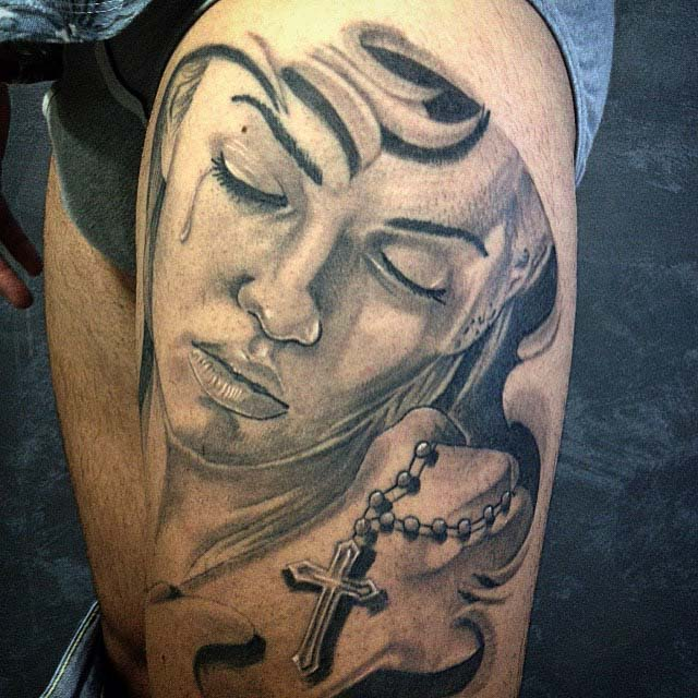 rosary girl face chicano tattoo