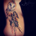 Watercolor Owl Side Tattoo