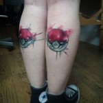Watercolor Pokeball Tattoos on Calves