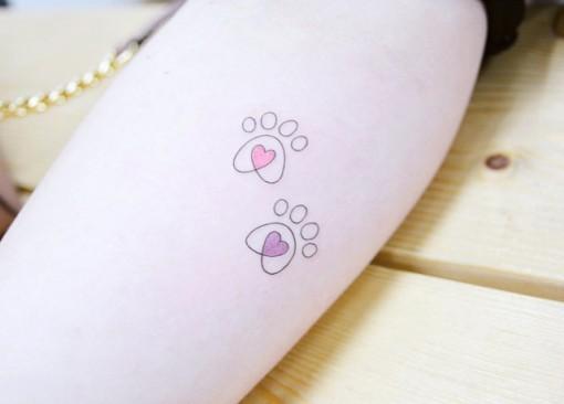 cute cat paws tattoo heart