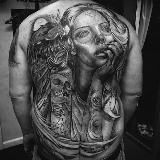 back Chicano tattoo girl