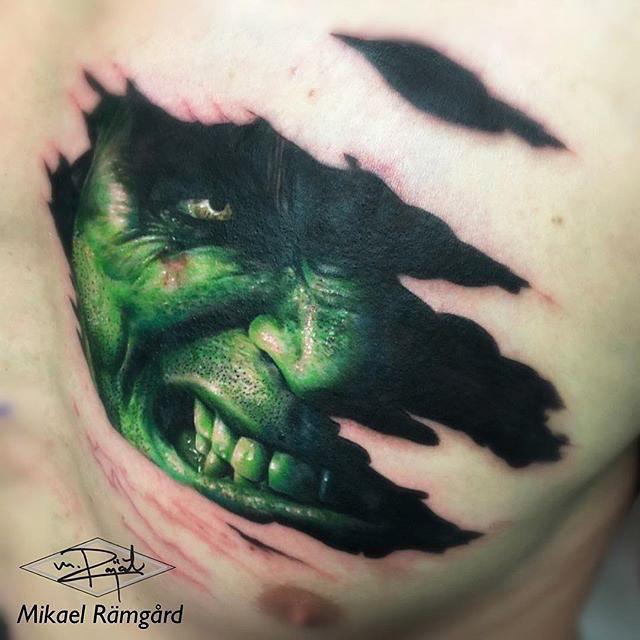 hulk face 3D tattoo under skin