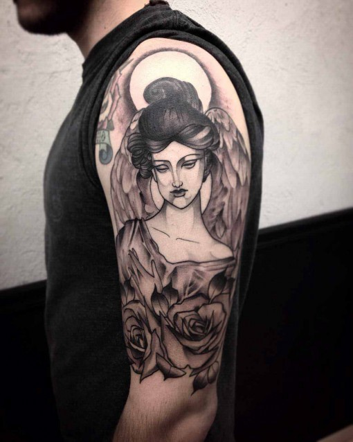shoulder tattoo of angel