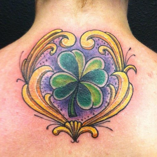 Back Tattoo Four Leaf Clover