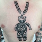 bear chest tattoo medallion
