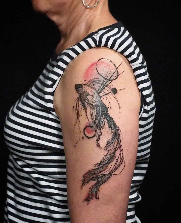 betta fish tattoo on shoulder